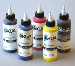 Five bottles in the Akua Liquid Pigment Woodblock and Linocut Set