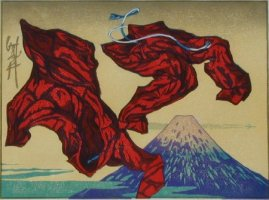 Red Pajamas Over Fuji, print by Walt Padgett