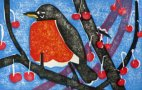 American Robin in Crabapple